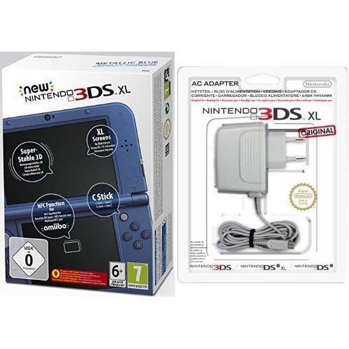 Pack Console New Nintendo 3DS XL bleu métallique + Bloc d'alimentation