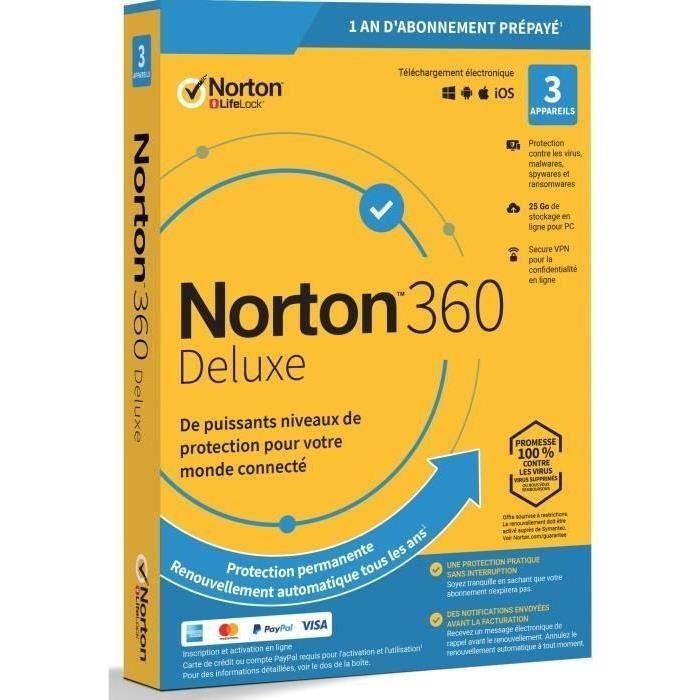 Licence 1 an pour l'antivirus Norton 360 Deluxe 2020 - 3 appareils (Dématérialisé)