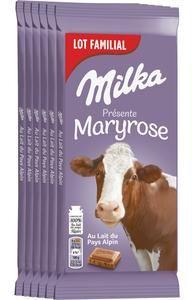 Lot de 6 tablettes de chocolat au lait Milka - 6 x 100g