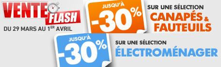 Jusqu'à -30% supplémentaires sur une sélection de Canapés / Fauteuils / Elecroménager en vente flash