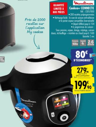 Multicuiseur Moulinex Cookeo CE857800 connecté (via 80€ sur la carte fidélité)