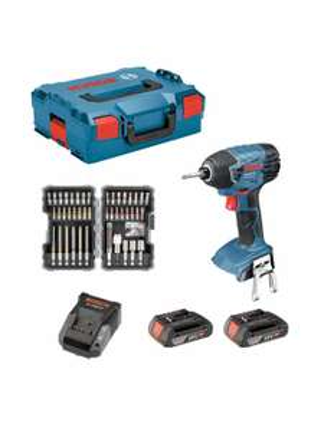 Visseuse a choc Bosch Pro GDR 18V-LI + Batteries 2 x 2,0 Ah + Chargeur AL1820CV + L-BOXX 136 + Jeux 43 pièces