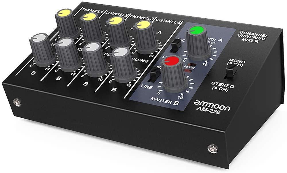 Mixeur audio ultra compact à faible bruit Ammoon AM-228 - 8 Canaux (vendeur tiers)