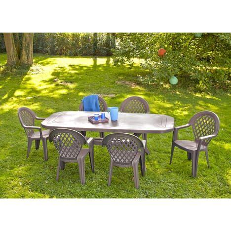 Pack Salon de jardin Grosfillex Ibiza - 1 Table + 6 Sièges - Taupe