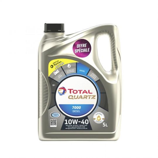 Bidon d'huile moteur Total Quartz 7000 10W-40 - 5L