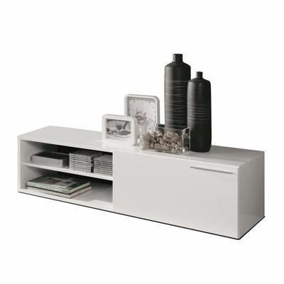 Meuble TV Kikua - 130cm, blanc brillant