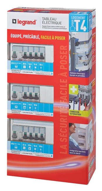 Tableau électrique équipé et précâblé Legrand - 3 rangées, 39 modules