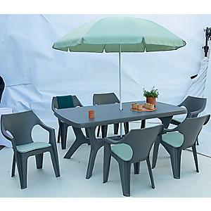 Ensemble déjeuner Veronese : 1 Table + 6 Chaises + 1 Parasol