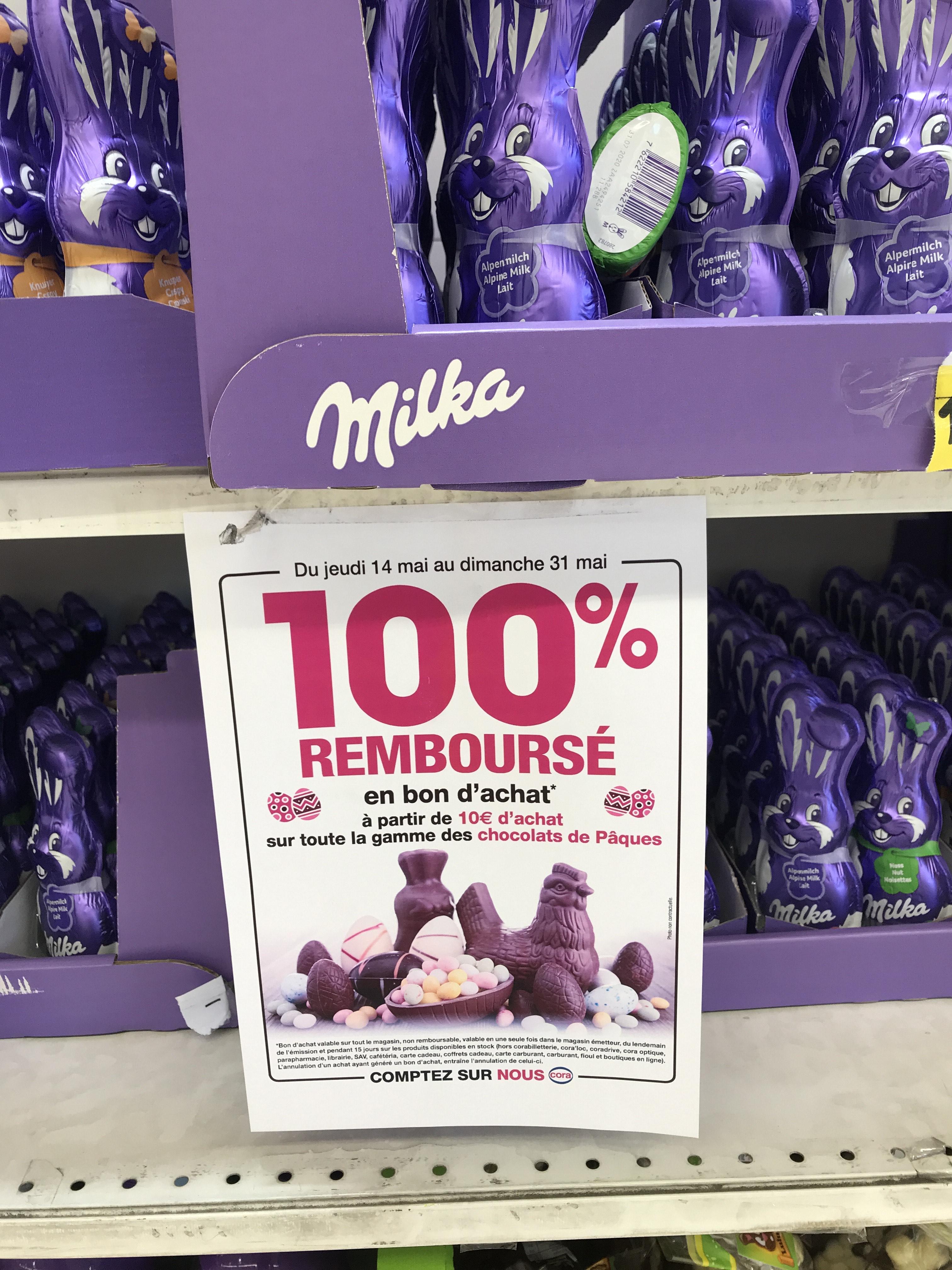 Chocolats de Pâques remboursés à 100% en bon d'achat à partir de 10€ d'achat - Sélection de magasins