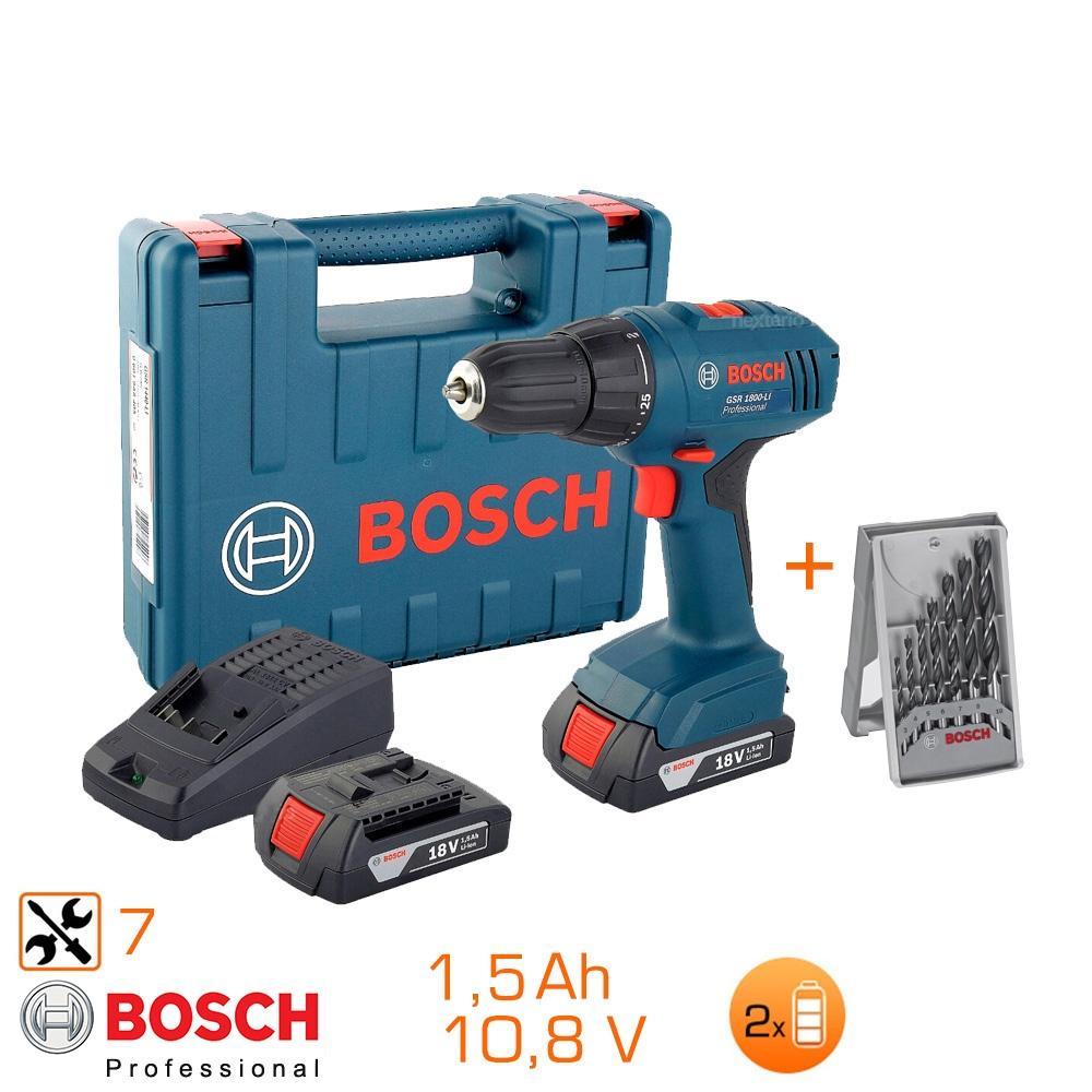 Perceuse visseuse Bosch GSR1800-LI 18V (2 batteries 1,5Ah) - Avec coffret + 7 forets bois