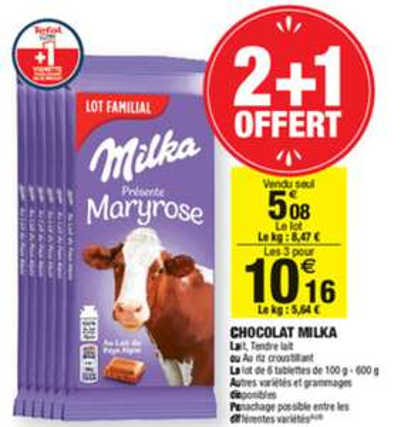 Lot de 3 packs de 6 tablettes de chocolat Milka - Divers variétés au choix, 18x100g