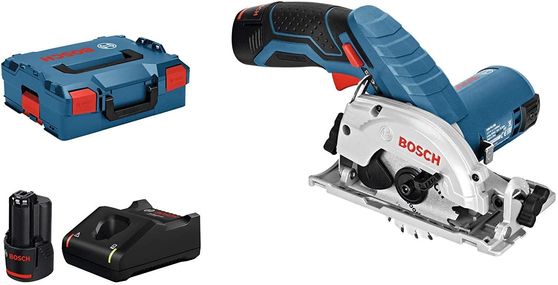 Scie circulaire sans fil Bosch Professional GKS 12V-26 + 2 Batteries 3Ah + Chargeur + L-Boxx