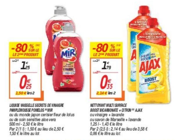 2 Bouteilles de Liquide lave-vaisselle Mir Secrets de Vinaigre (ou Ajax Multi Surface Boost à 2.14€)