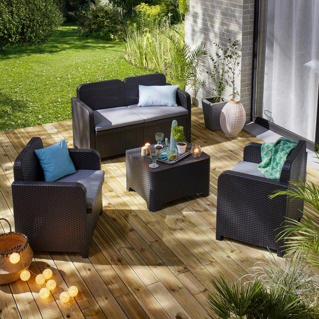 Salon bas de jardin Sorrento en résine injectée anthracite pour 4 personnes - 2 fauteuils + 1 canapé + 1 table basse