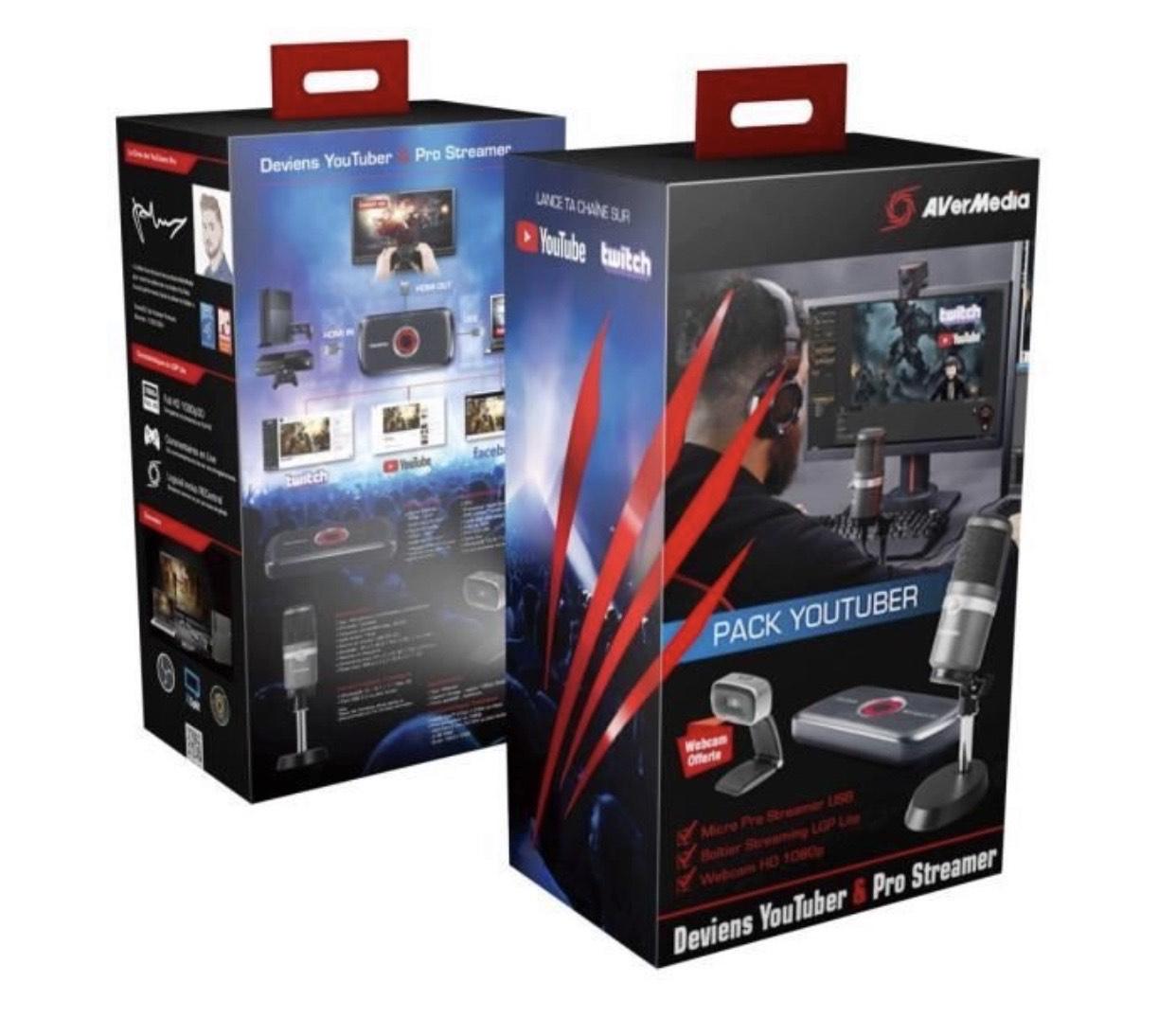 Boîtier Acquisition/Streaming Vidéo AverMedia + Micro USB Pro + Webcam Full HD 1080p