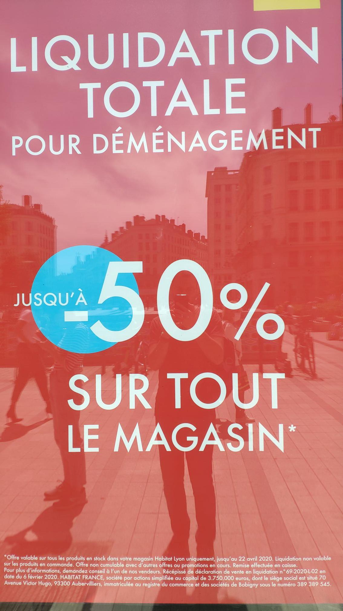 Jusqu'à 50% de réduction sur tout le magasin (Liquidation) - Habitat Lyon (Lyon 69002)