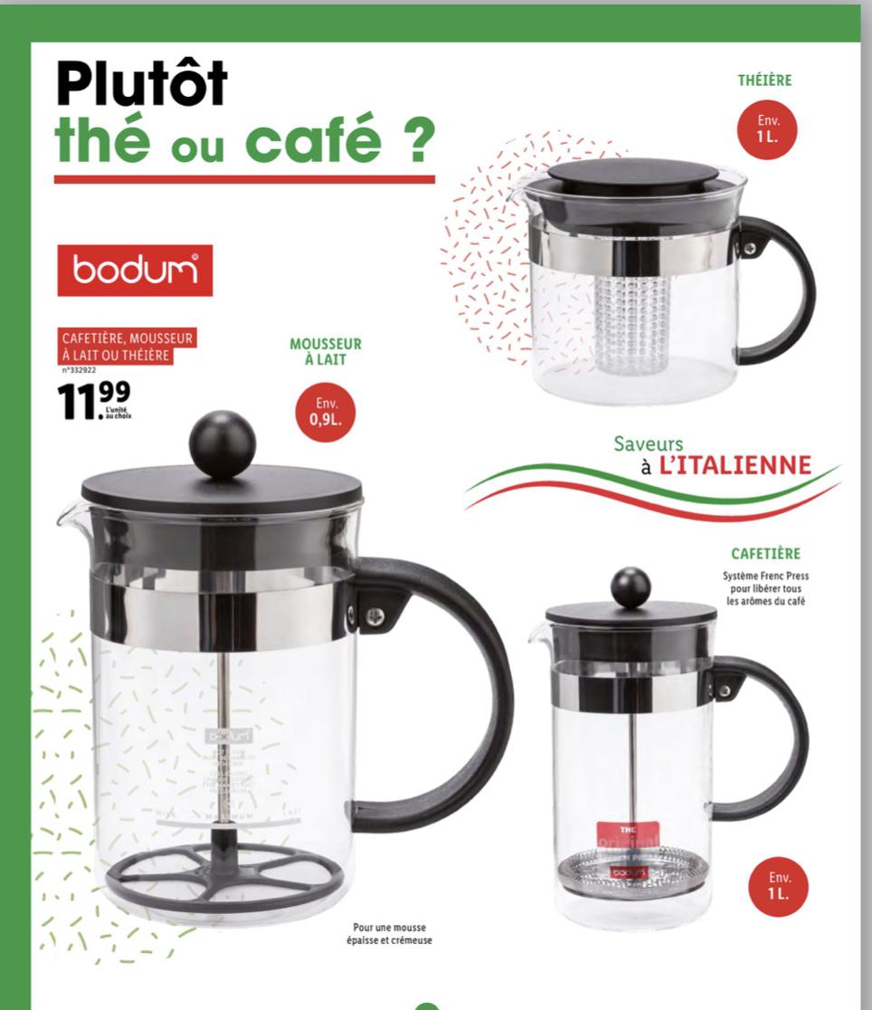 Sélection d'articles Bodum à 11.99€ - Ex : Cafetière à piston Bodum - 1L