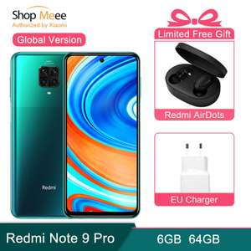 Smartphone 6.67'' Xiaomi Redmi Note 9 Pro - 6 Go RAM, 64 Go ROM + Ecouteurs Redmi Airdots (233,89€ avec le code NOTE9PRO20)