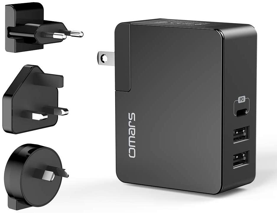 Chargeur Secteur Omars - 45W (Power Delivery Type-C 30W + 2 x USB-A 15W) + Adaptateur UE/UK/AU/US (Vendeur tiers)
