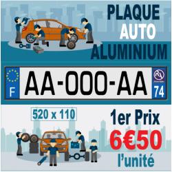 Plaque d'immatriculation standard en aluminium - 520 x 110 mm (worldplak.net)