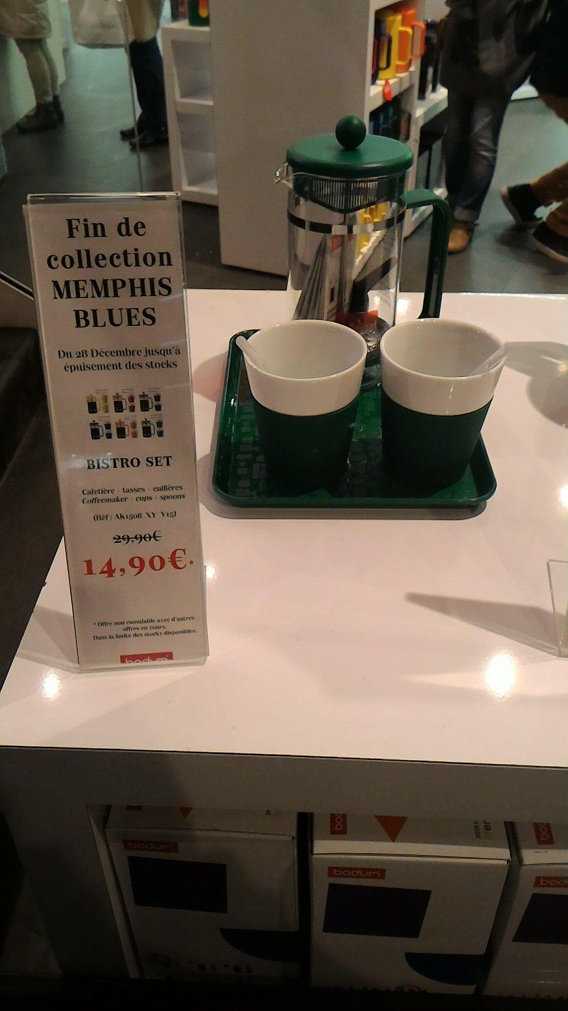 Cafetière Bodum 1 L + 2 verres + 2 cuillières + plateau