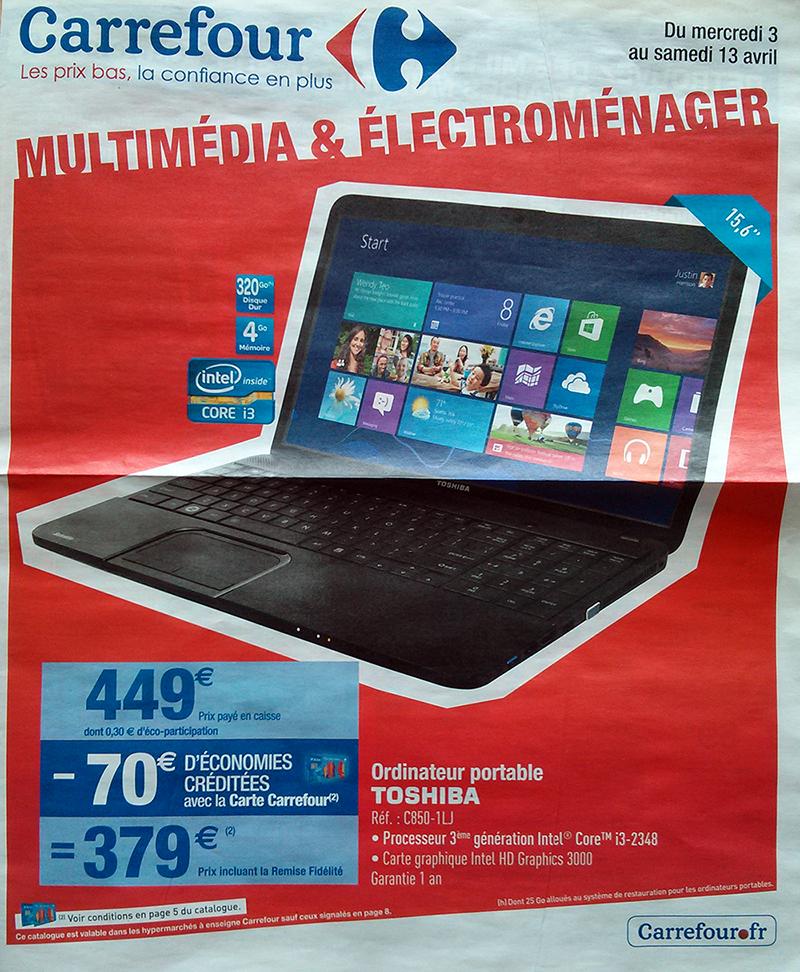 """Pc portable Toshiba 15,6"""" - intel i3 - 4Go de ram - 320Go (70€ sur la carte fidélité)"""