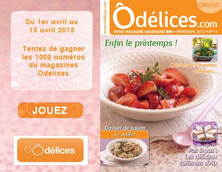 Recevoir gratuitement le magazine Odelices n°11 Printemps 2013