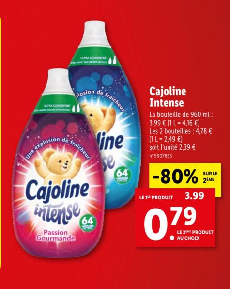 2 Bidons d'Adoucissant Cajoline Intense - 64 Lavages (Via ODR 1€)