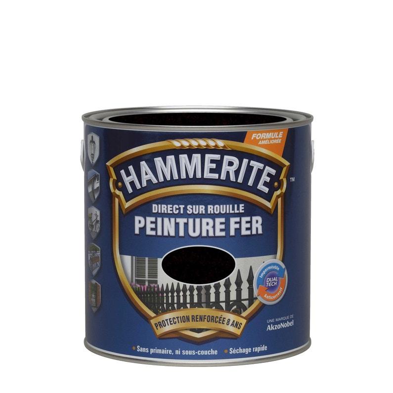 Peinture fer extérieur direct sur rouille Hammerite - Noir, 2.5L
