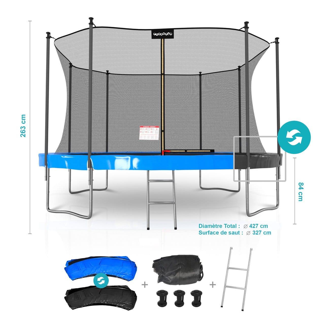 Trampoline Classique de Jardin Play4Fun - 14ft, Ø427cm, Matelas Réversible, Echelle, Filet de Sécurité, Tapis de saut (Vendeur tiers)