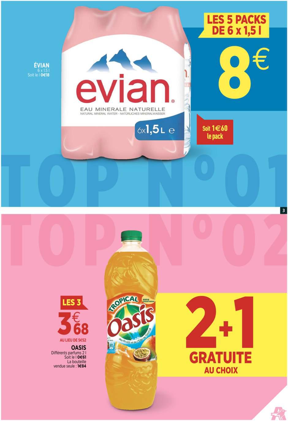 5 packs de 6 bouteilles Evian 1,5L (0,18€ le Litre !)