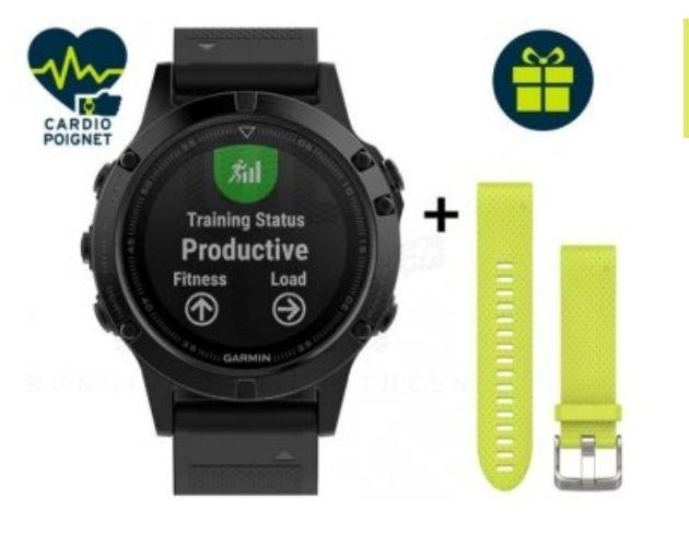Montre de Sport GPS Garmin Fenix 5 Sapphire + bracelet de rechange jaune