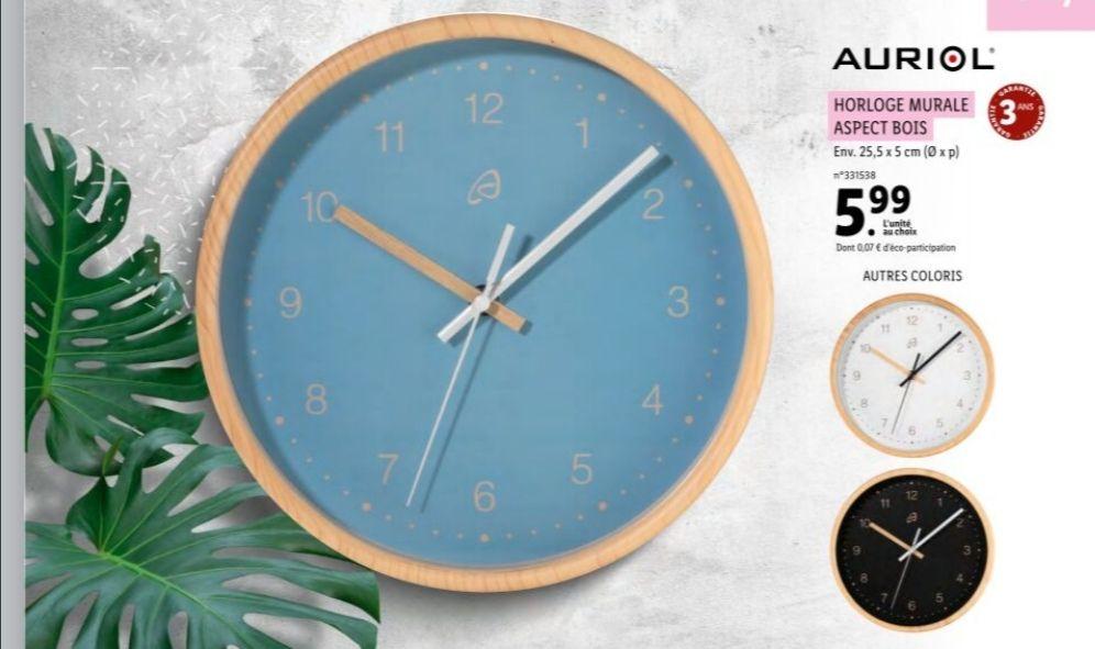 Horloge murale Auriol - Aspect bois