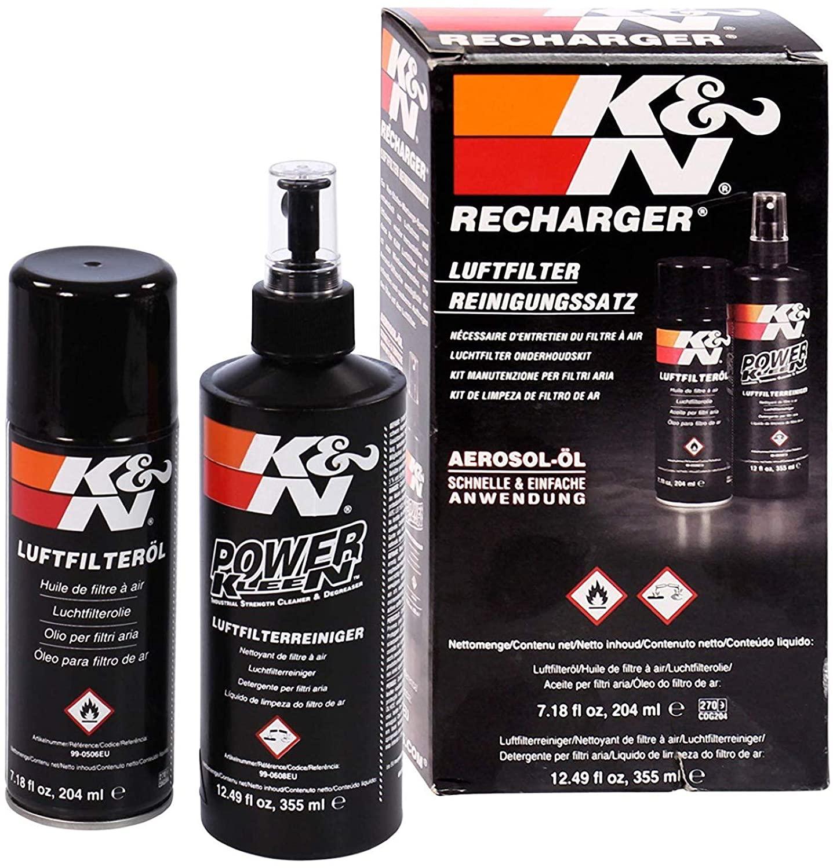 Nettoyant filtre moto et auto K&N 355ml + Aérosol huile 204ml