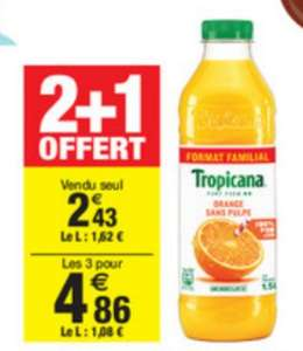 3 bouteilles de Tropicana Pur Jus Orange Sans Pulpe - 3x 1.5L