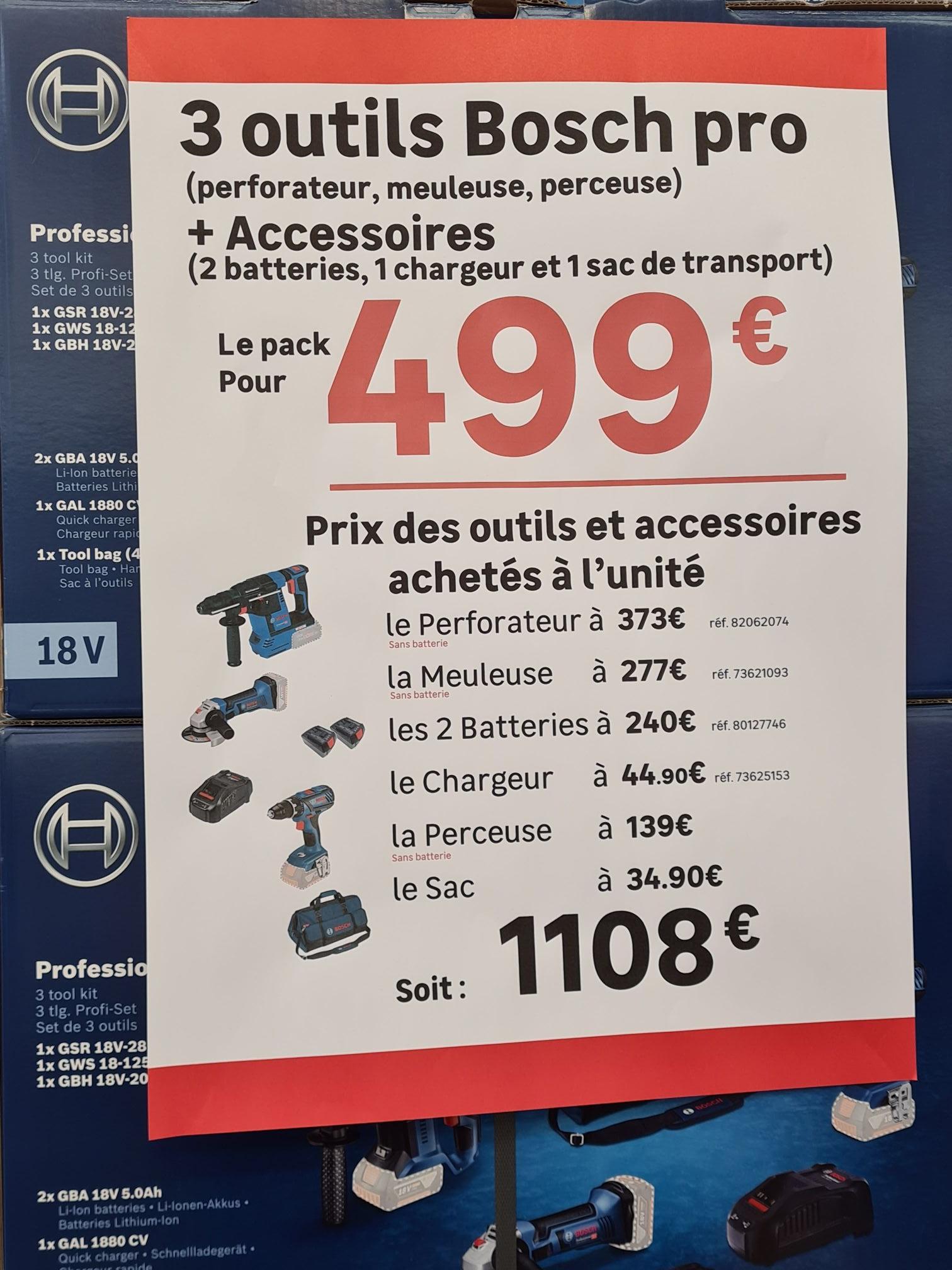 Pack outils Bosch Professional (3 outils plus accessoires) - Vitry-sur-Seine (94)