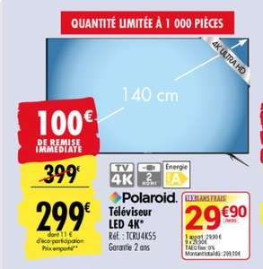 TV LED 55″ Polaroïd TCRU4K55 - UHD 4K