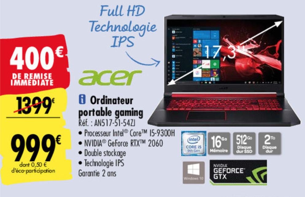 "PC Gamer 17.3"" Acer Nitro AN517-51-54ZJ - i5-9300H, SSD 512Go, 16 Go de Ram, GeForce 2060"