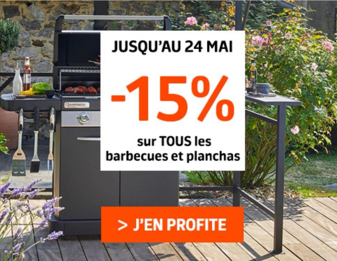 15% de réduction sur tous les barbecues et planchas