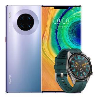 """Pack Smartphone 6.53"""" Huawei Mate 30 Pro - 8 Go RAM, 256 Go (Sans Services Google) + Montre connectée Huawei Watch GT Vert foncé"""