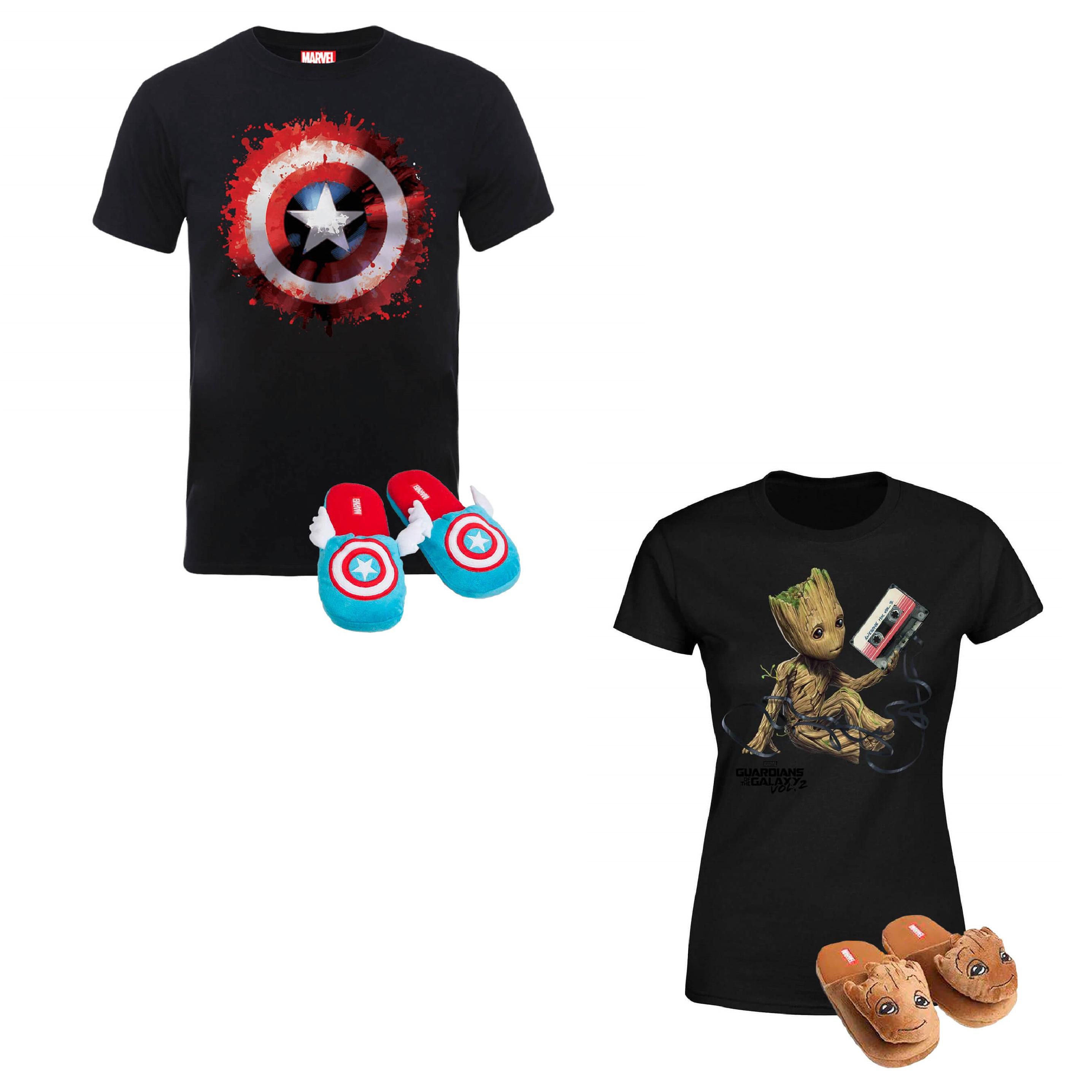 Pack Chaussons + T-Shirt Captain America (Hommes, Femmes & Enfants, du 5 ans au XXXL) + Livraison offerte