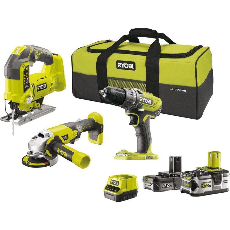 Kit 3 outils Ryobi One+ : Perceuse + Scie sauteuse + Meuleuse d'angle et 2 batteries avec chargeur - Bois d'Arcy (78)
