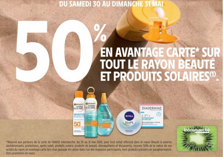 50% crédité sur la carte de fidélité sur les produits de beauté & les produits solaires (hors pharmacie)