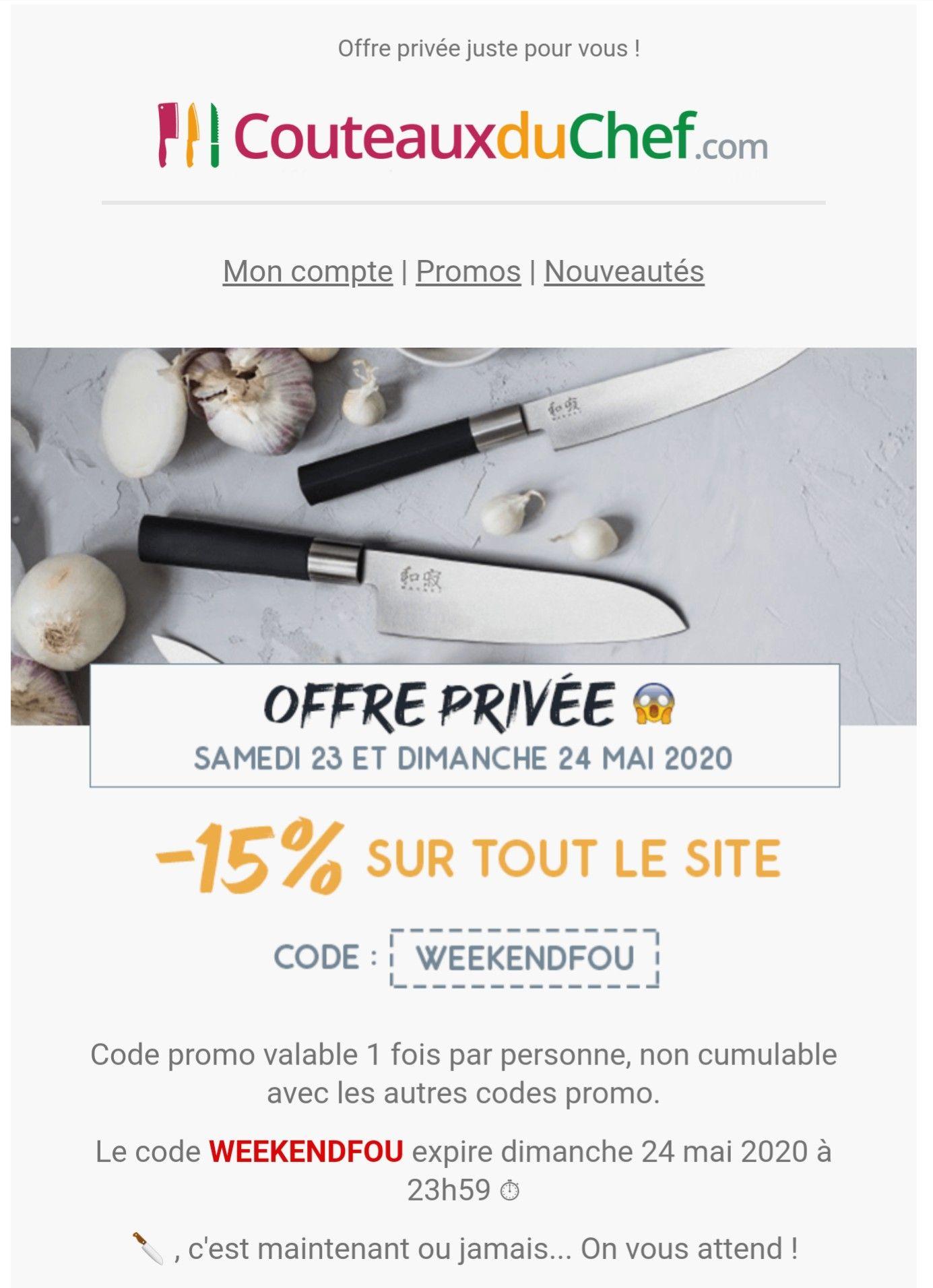 15% de réduction sur tout le site (couteauxduchef.com)
