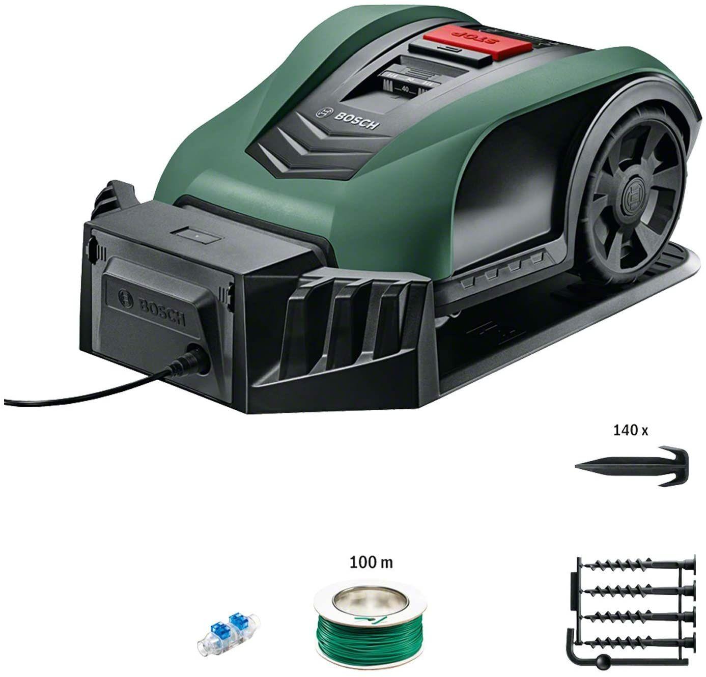 Tondeuse robot connectée Bosch Indego S+ 350 (contrôle avec smartphone,largeur de coupe de 19 cm, superficie max 350 m², avec accessoires)