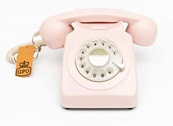 Téléphone fixe rétro GPO 746 de style années 1970 à cadran rotatif - Cordon extensible, sonnerie authentique - Rose