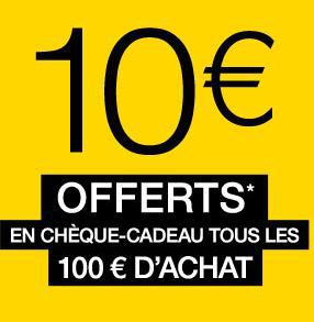 Journées exceptionnelles Adhérents : 10€ offerts en chèque cadeau tous les 100€ d'achat