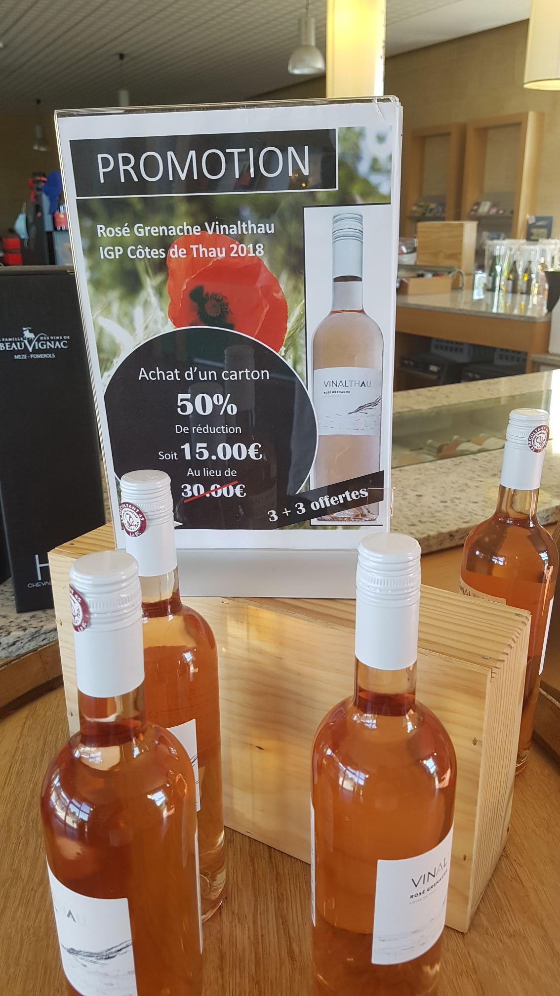 Carton de 6 bouteilles de vin rosé grenache vinalathau igp côte rosé 2018 - Caveau de beauvignac à mèze (34)