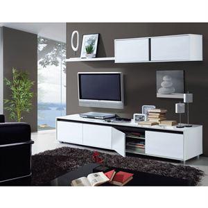 Meuble TV de 2 mètres de long 4 portes blanc
