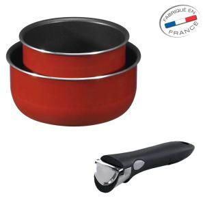 Set de 2 casseroles Tefal Ingenion + poignée amovible Fabriqué en france - Rouge